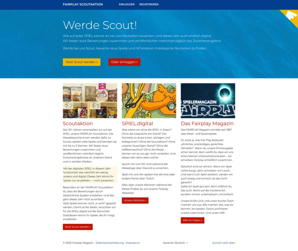 Digitale Scoutaktion - Startseite deutsch