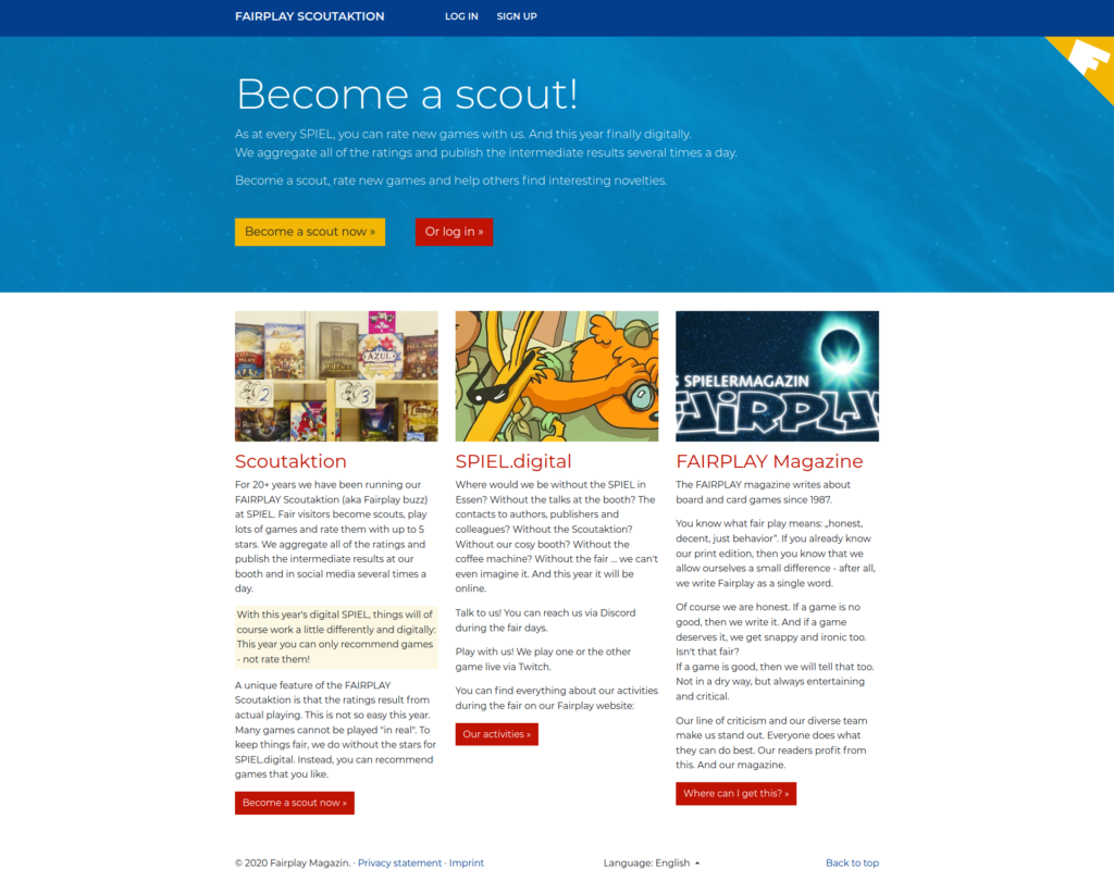 Startpage of digital Fairplay Scoutaktion
